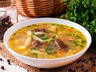Пилешка дроб чорба (супа) с фиде, кисело мляко и мащерка